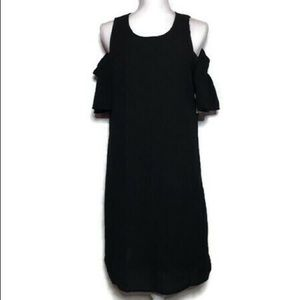 : city streets black cold shoulder dress